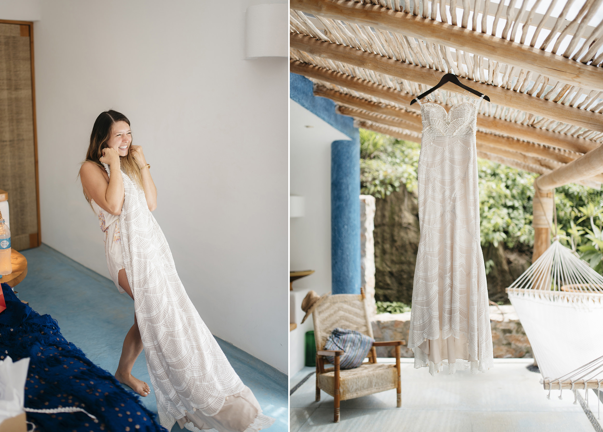 Bride loves her handmade wedding dress in Sayulita Mexico by Puerto Vallarta Destination Photographers Colby and Jess colbyandjess.com