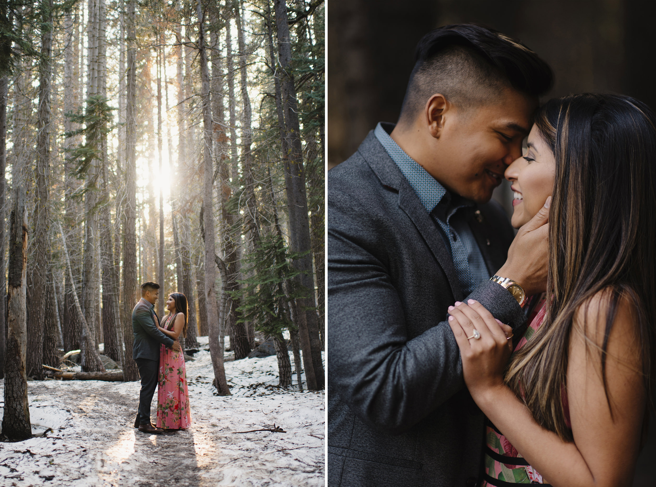 Engaged couple shares a romantic moment along Taft Point Trail in Yosemite