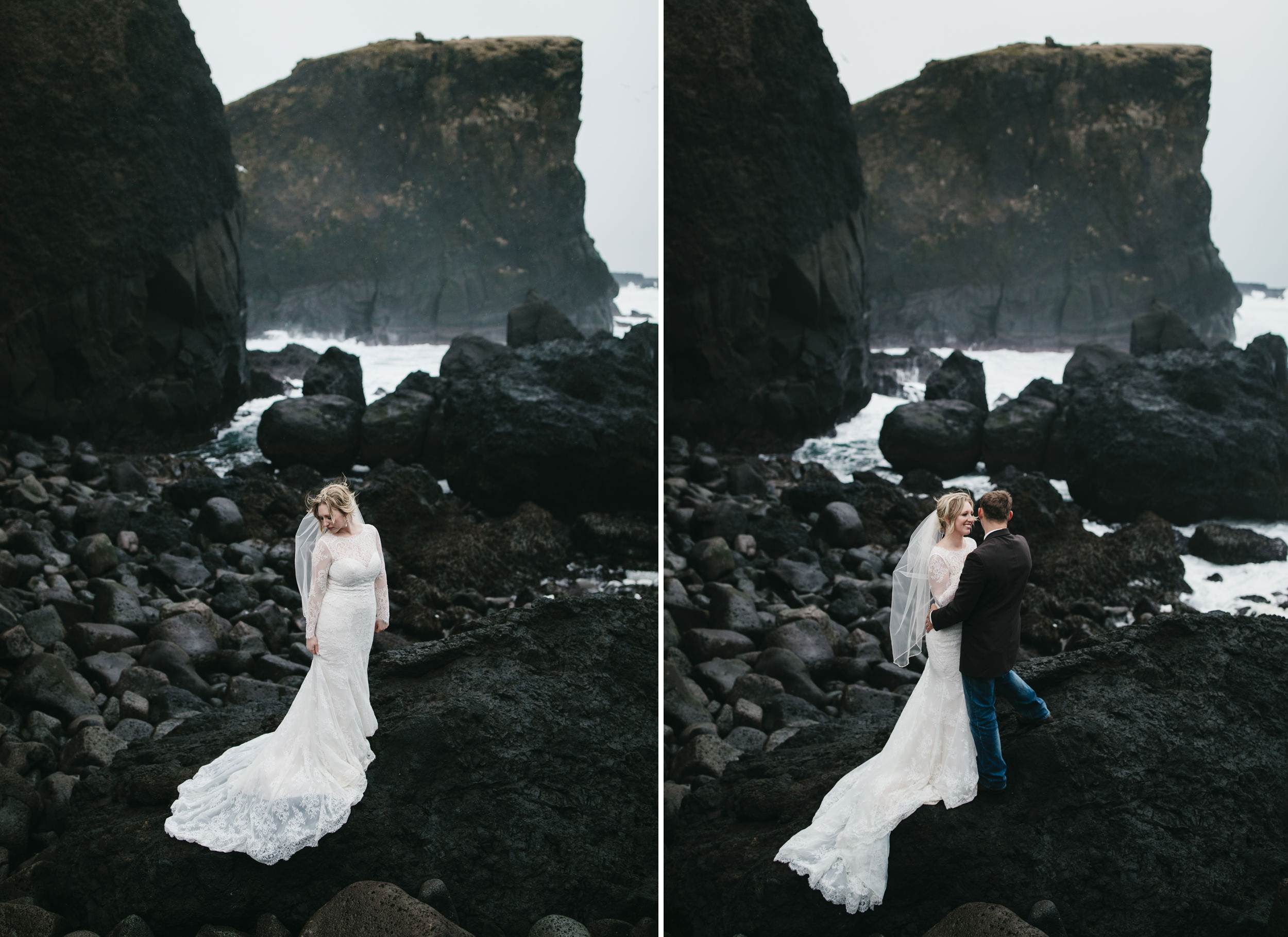 A beautiful bride stands surrounded by rocky cliffs and crashing waves during her elopement adventure session in Iceland by wedding photographers colby and jess, colbyandjess.com