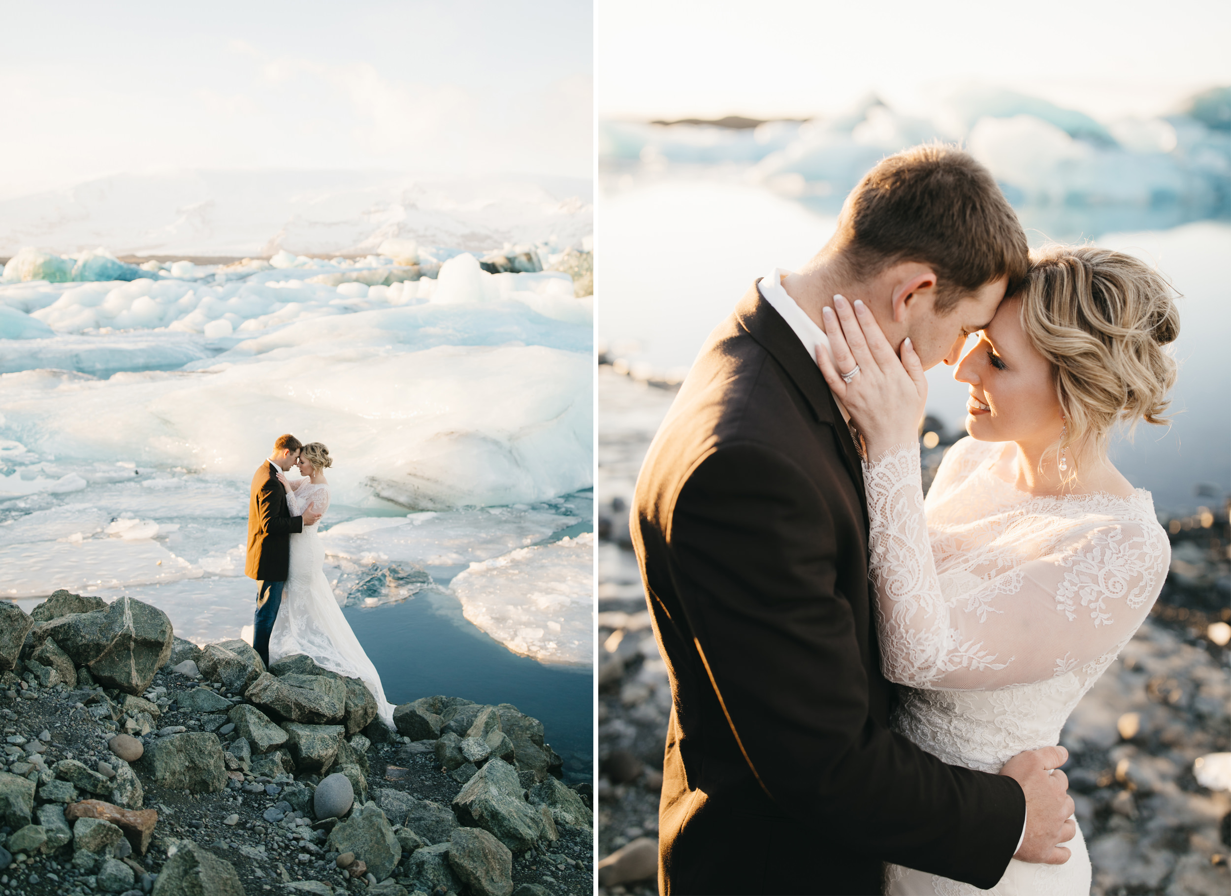 A couple snuggles for warmth next to glaciers during Iceland Elopement Photography Session by colby and jess.