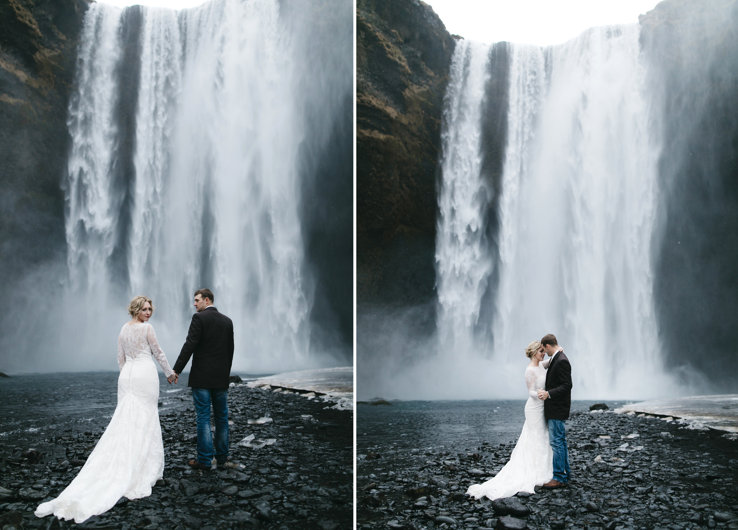 A couple goes to Skogafoss to elope in front of a waterfall with Iceland Elopement Photographers Colby and Jess as their witnesses.