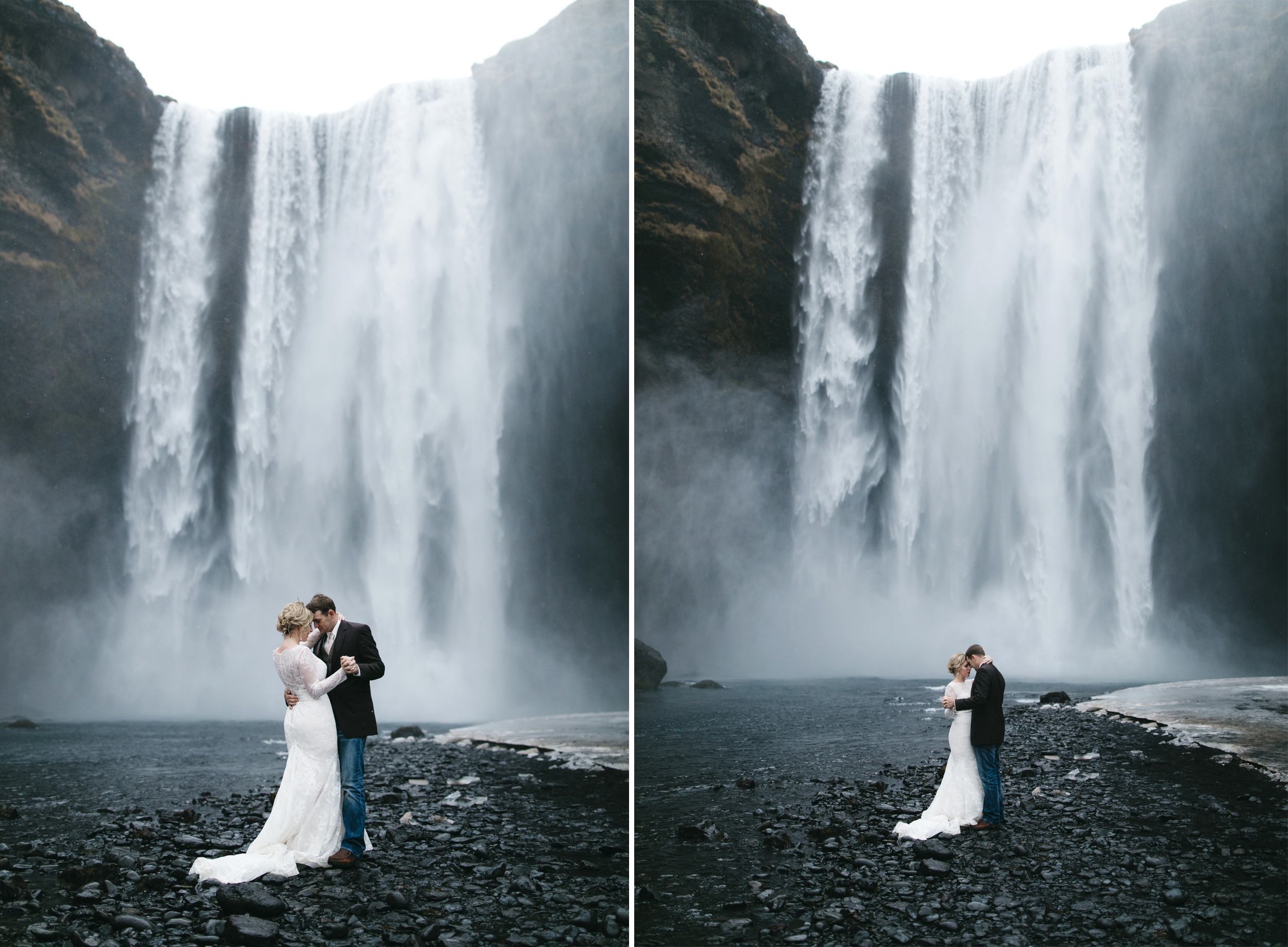 A bride and groom share their first dance in front of Skogafoss waterfall with Iceland Adventure Elopement Photographers Colby and Jess, colbyandjess.com