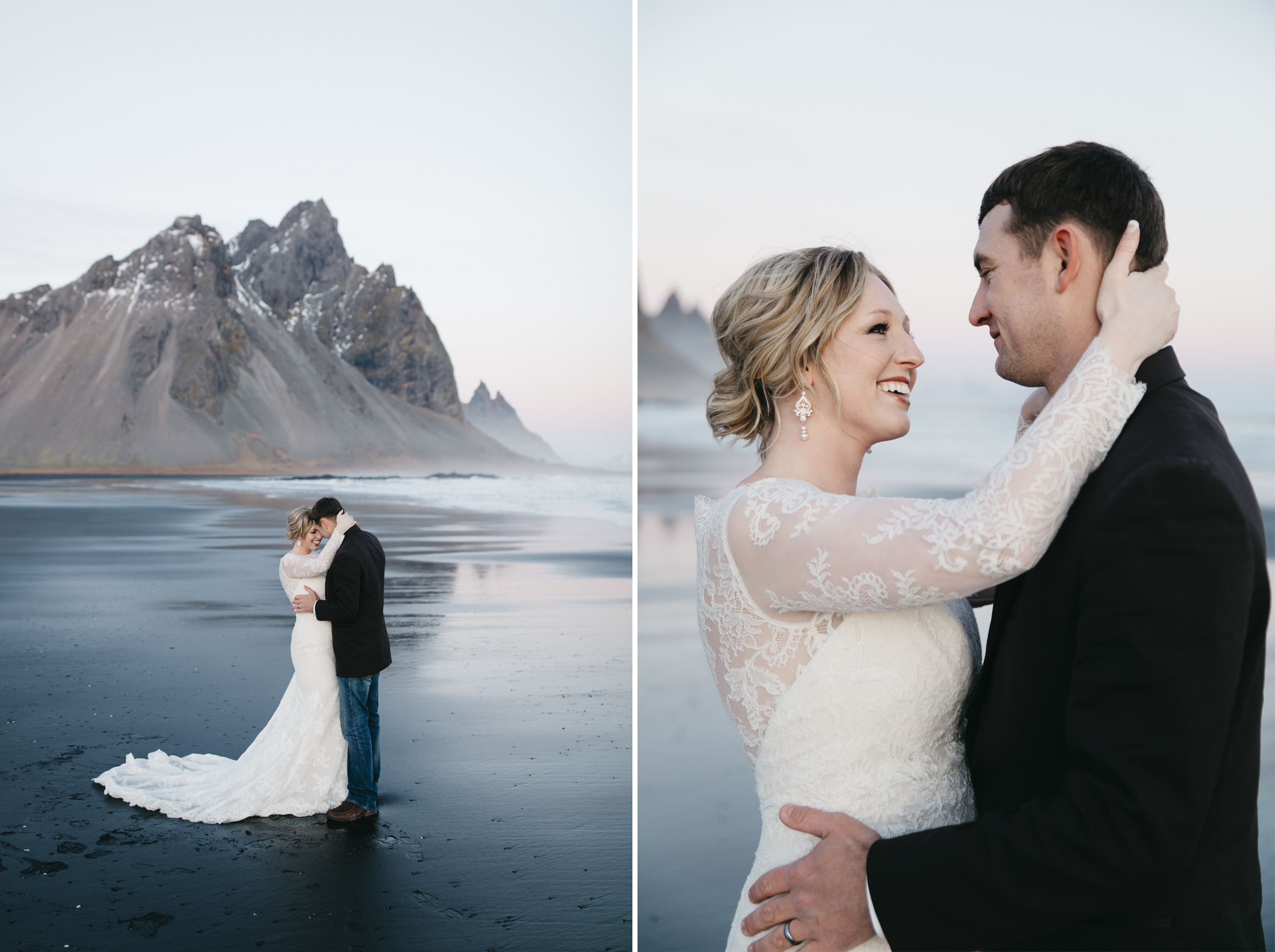 A happy couple shares their first dance after eloping in Iceland with destination wedding photographers colby and jess.