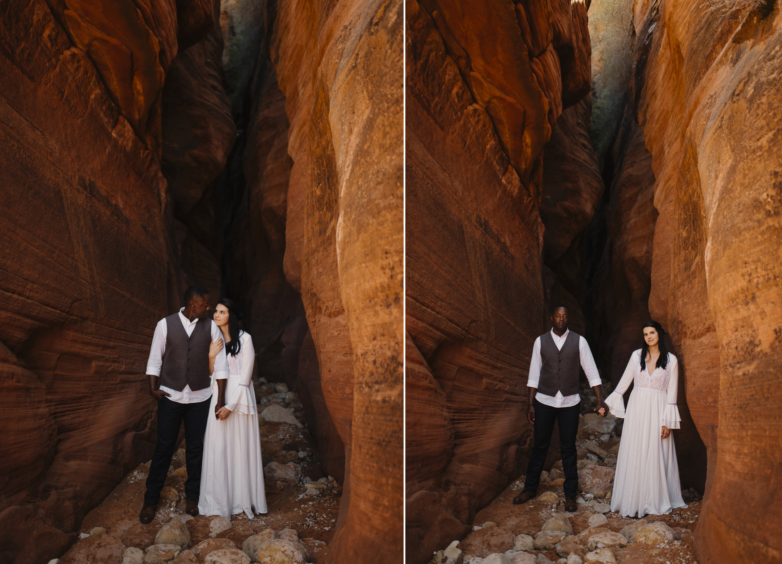 A couple explores a slot canyon during their Antelope Canyon Adventure Engagement Photography Session by Utah Destination Elopement Photographer Colby and Jess