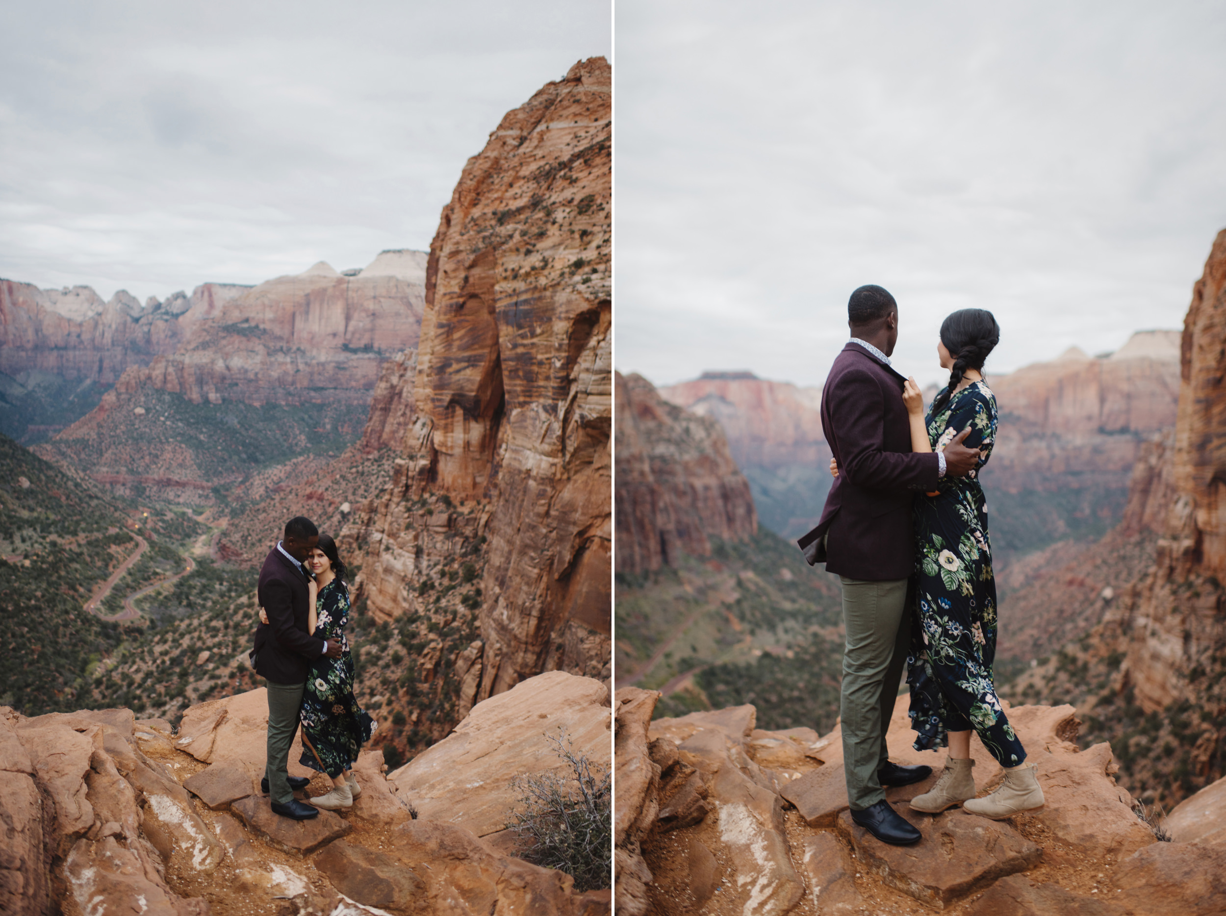 A couple snuggles on Angels Landing during their adventure engagement photography session with Zion National Park Elopement Photographer Colby and Jess