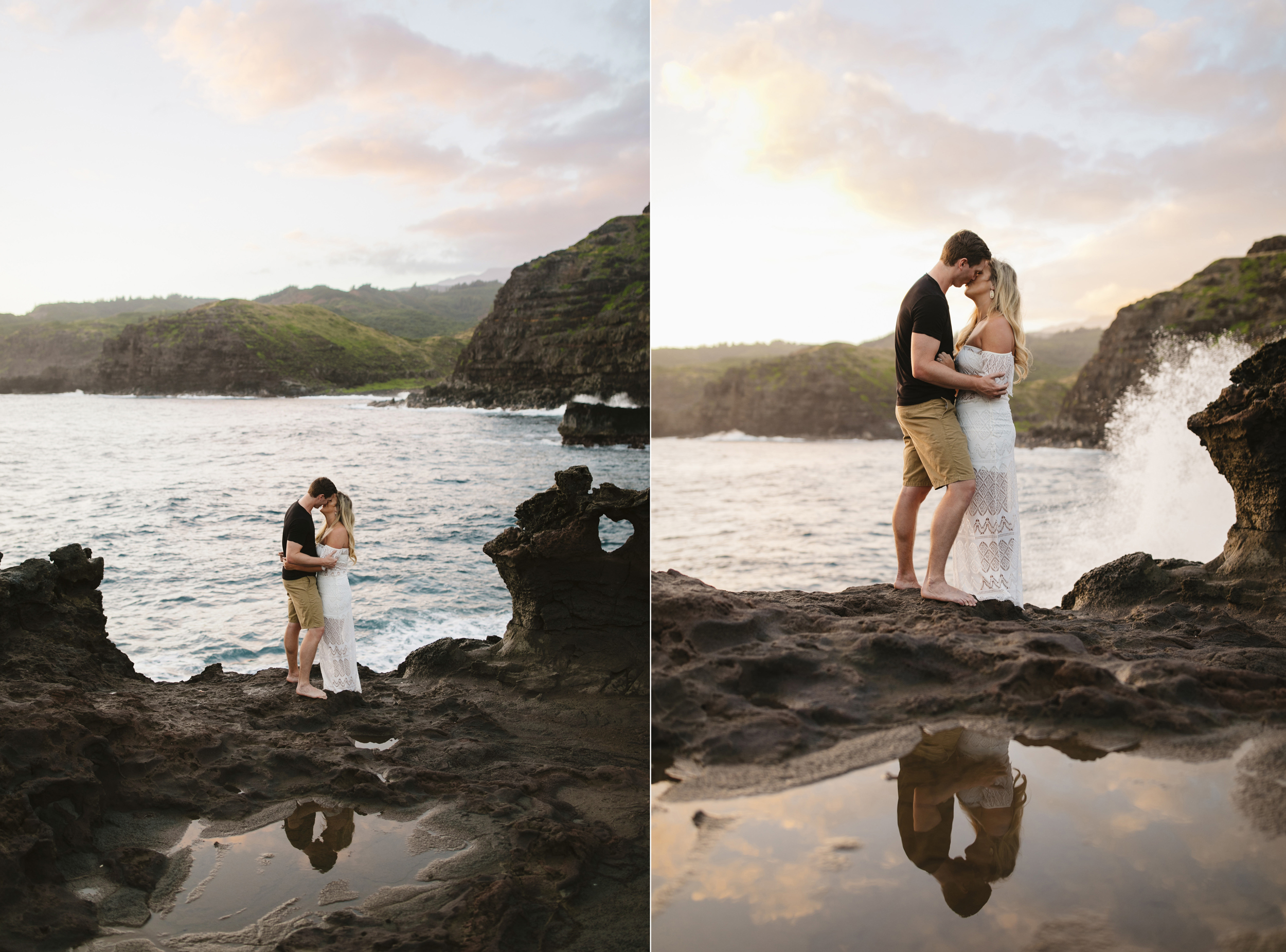 Waves crash as a couple is photographed by Maui elopement photographer Colby and Jess