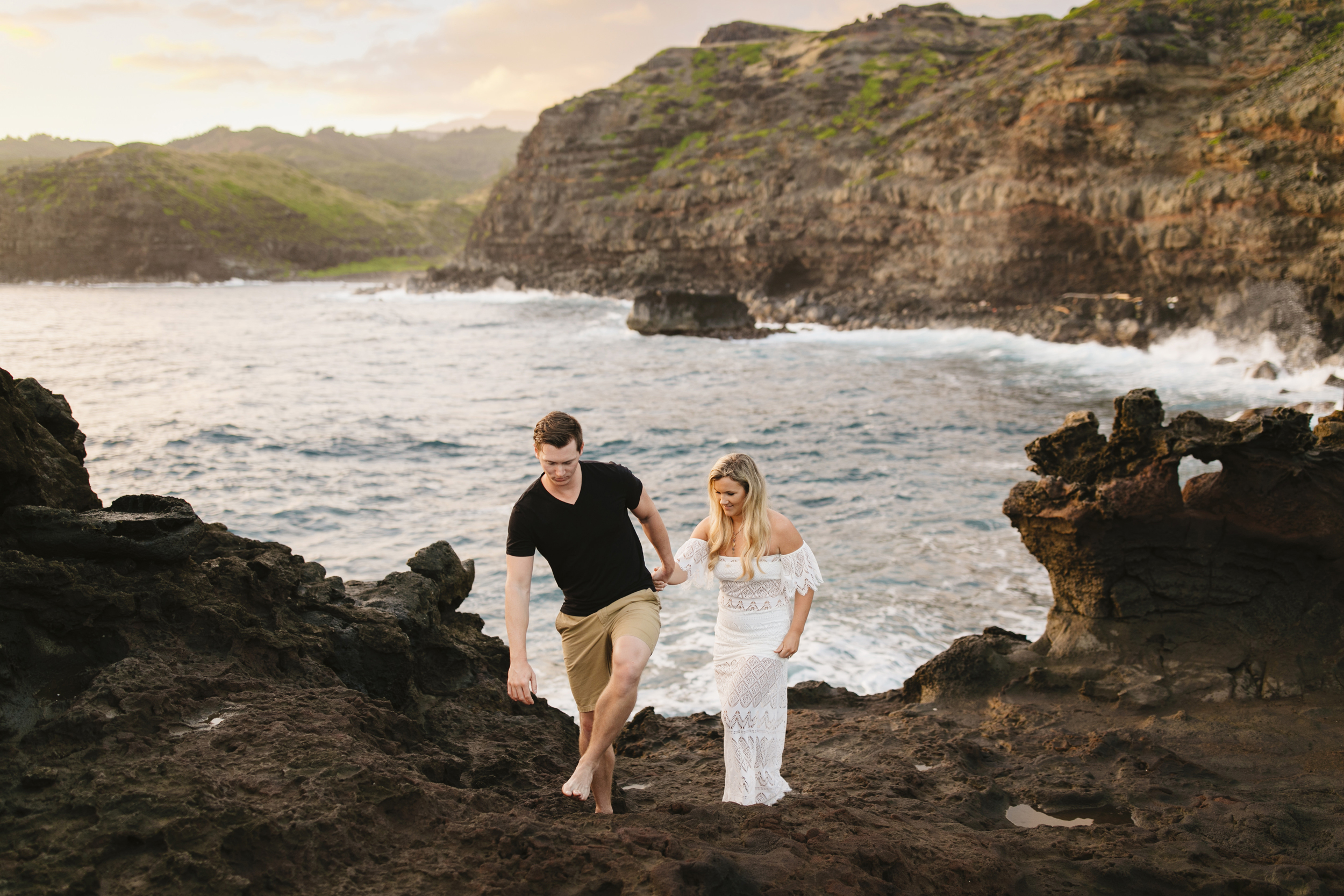 An adventurous couple explores Maui during their engagement session with hawaii elopement photographer Colby and Jess