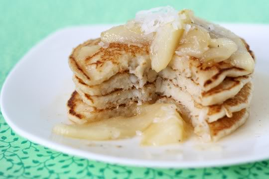 Double Coconut Pancakes with Vanilla Pear Sauce