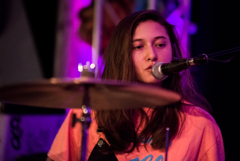 Victoria on drums