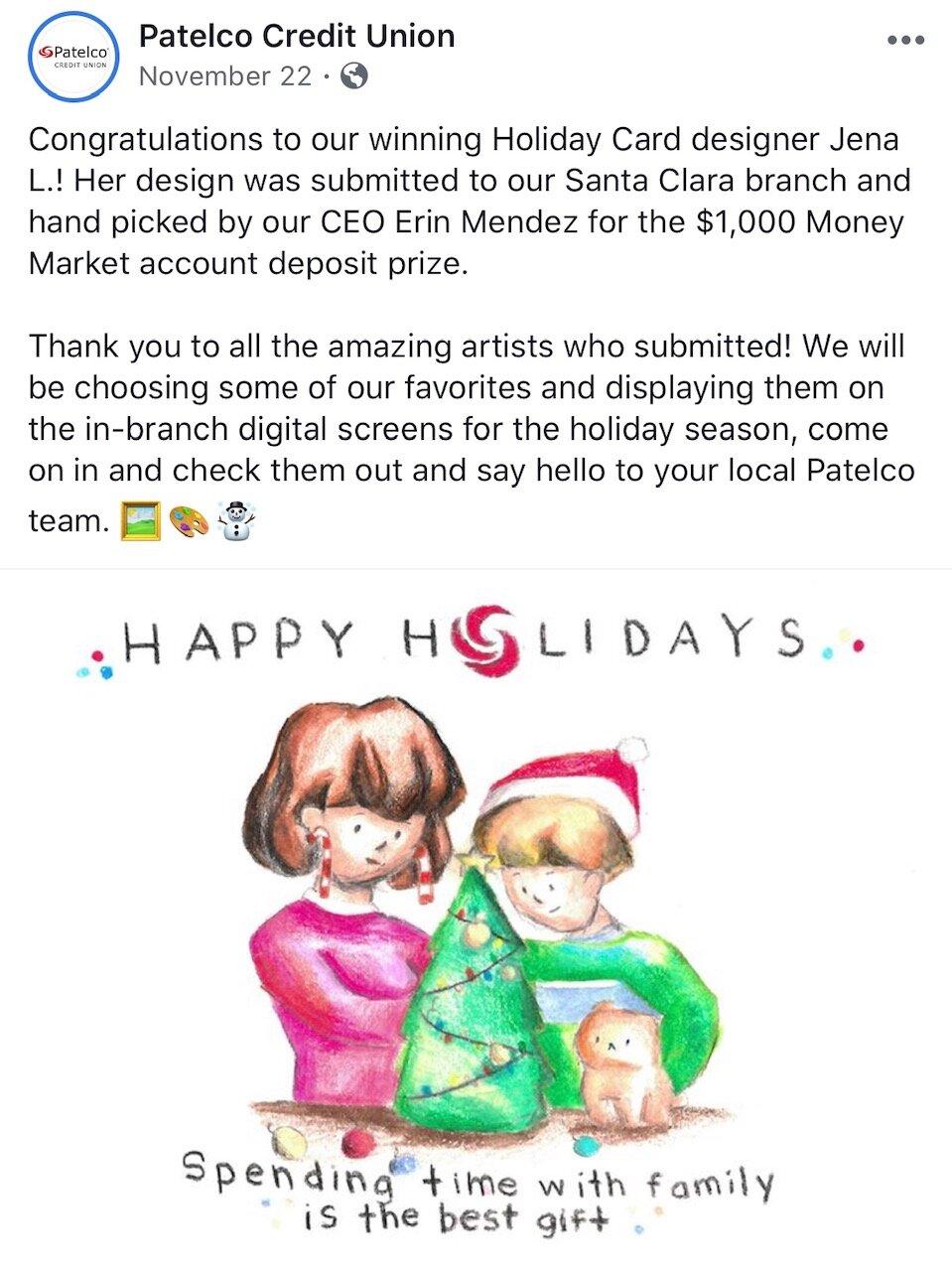 Winner Patelco Credit Union Holiday Card Competition Hongyun Art