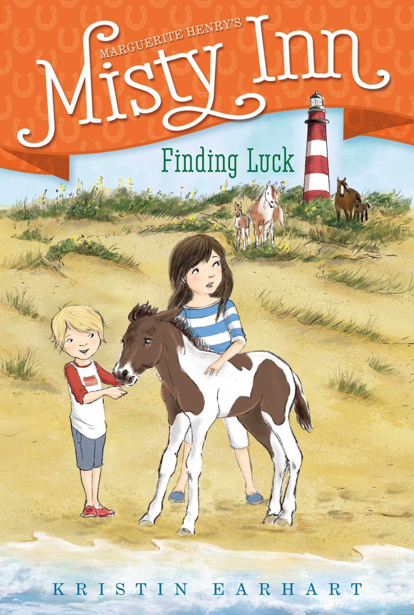 Finding Luck - The Dunlap's bed and breakfast is finally ready for the grand opening—or is it?—in this fourth book of a chapter book series inspired by Marguerite Henry's Misty of Chincoteague.It's time for the grand opening of Misty's Inn and Willa and Ben have been on their best behavior helping their parents get everything in tip-top shape! But they're tired of being up to their ears in lumpy mattresses and dust bunnies. Willa and Ben would much rather be helping their Grandma Edna reunite a foal with its missing mother. But as one disaster after another keeps happening at the Inn, the Dunlaps begin to worry that maybe running a bed and breakfast wasn't such a great idea after all. Will the Dunlaps be able to get everything ready in time, or will their dreams of running a successful inn disappear like the horse they're trying to save?