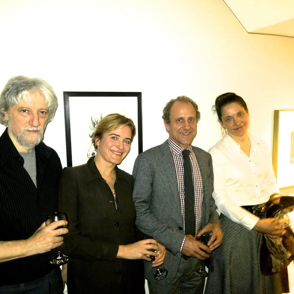 Pianist Alan Feinberg, Elena Siyanko of the ClarkInstitute, architect Jonathan Marvel andartist Clarina Bezzola at post-concert celebration.