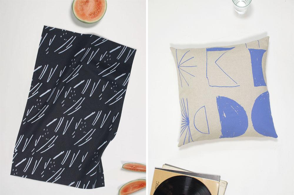 Handmade tea towels and pillows