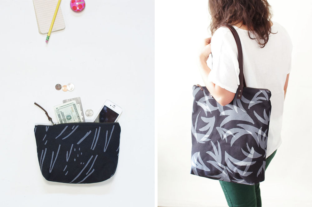 USA made zip pouch and tote bag