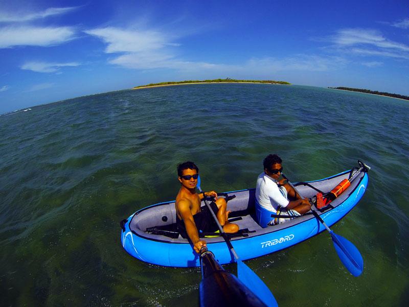 Kayaking in clean waters
