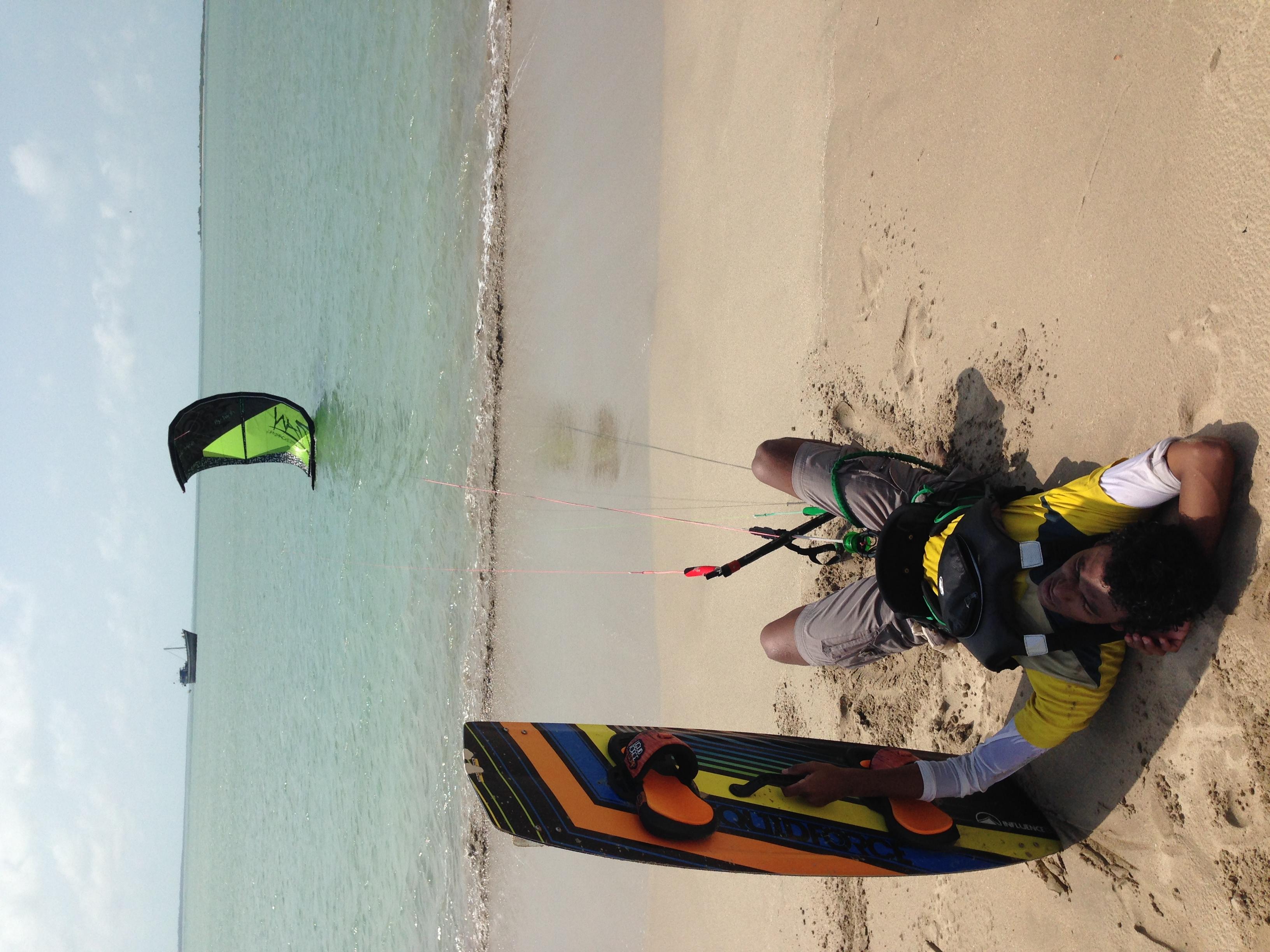 Kiteboarder from Chennai takes a break