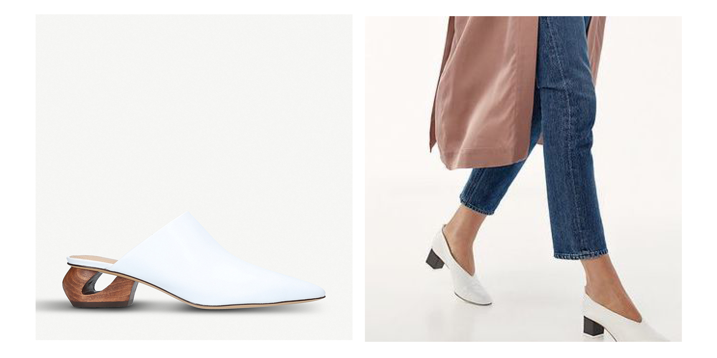 The Row's Haya Leather Slide Mule and an anonymous shoe paired with a blush Aritzia duster
