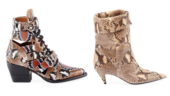 Chloé  Python-Embossed Combat Bootie and  Saint Laurent  Charlotte Python Pointed Bootie