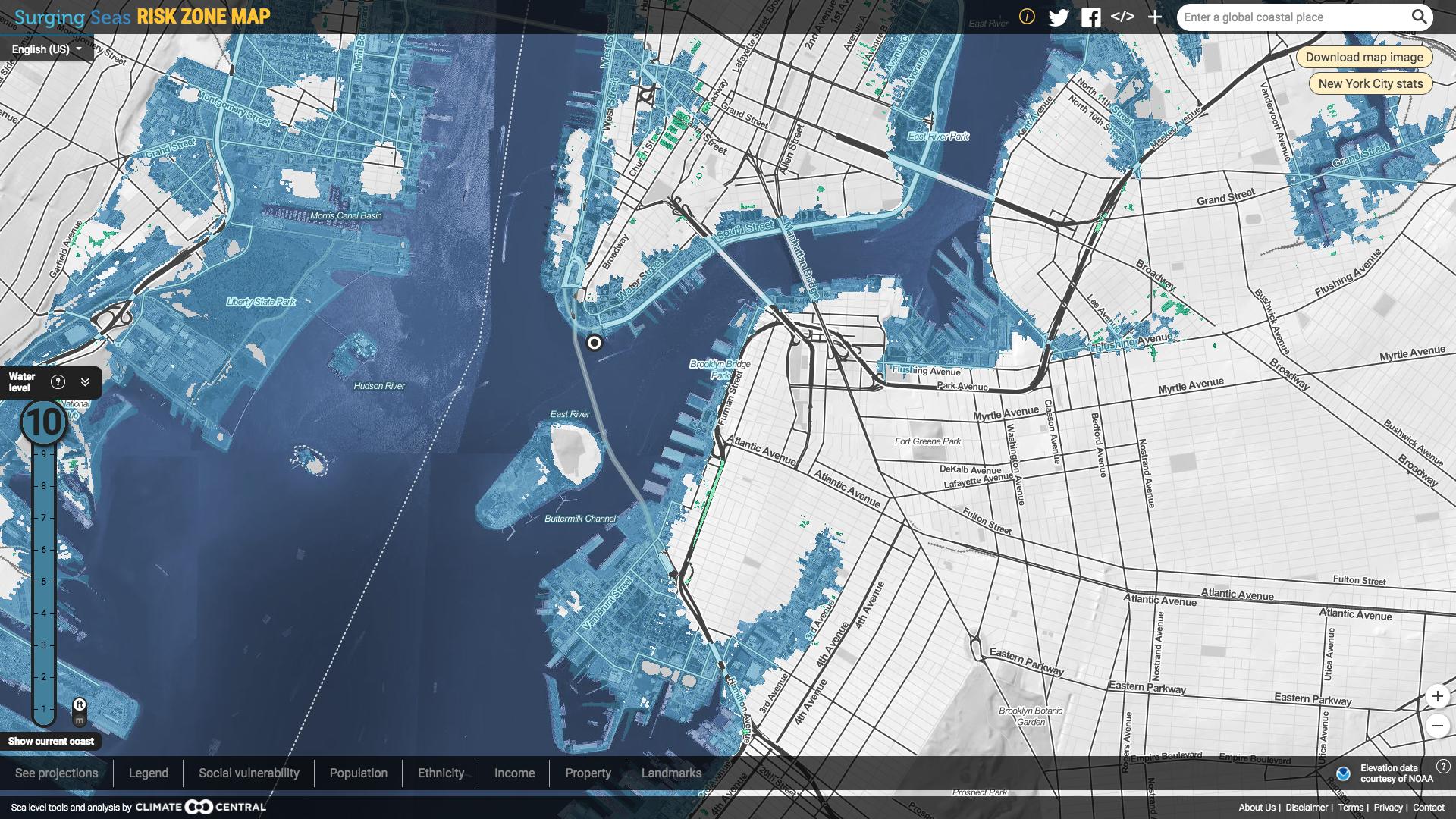 Sample sea level rise map
