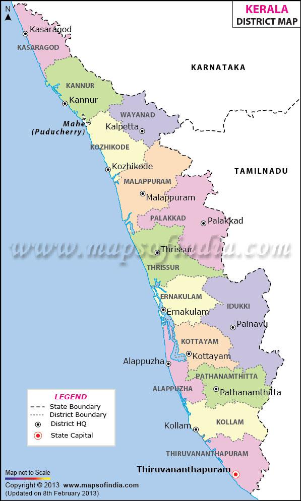De 15 distrikten i delstaten Kerala,   klicka för större bild!