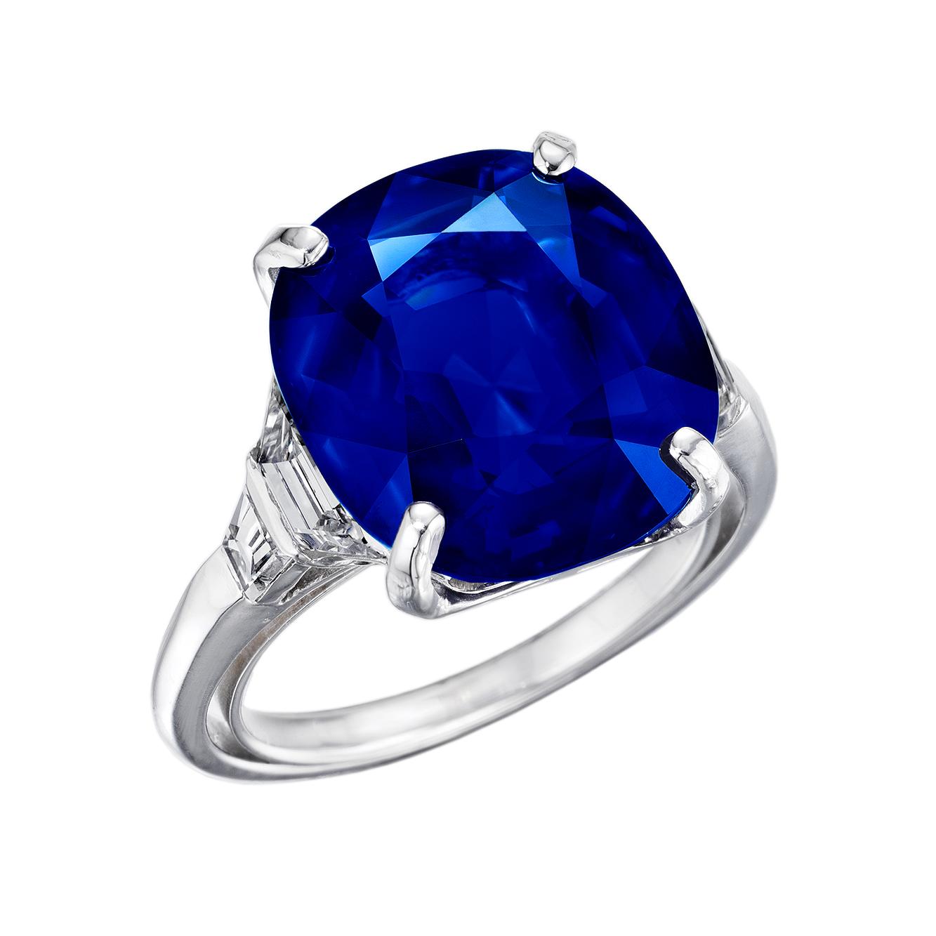 13+ CT. KASHMIR SAPPHIRE & DIAMOND ART DECO PLATINUM RING