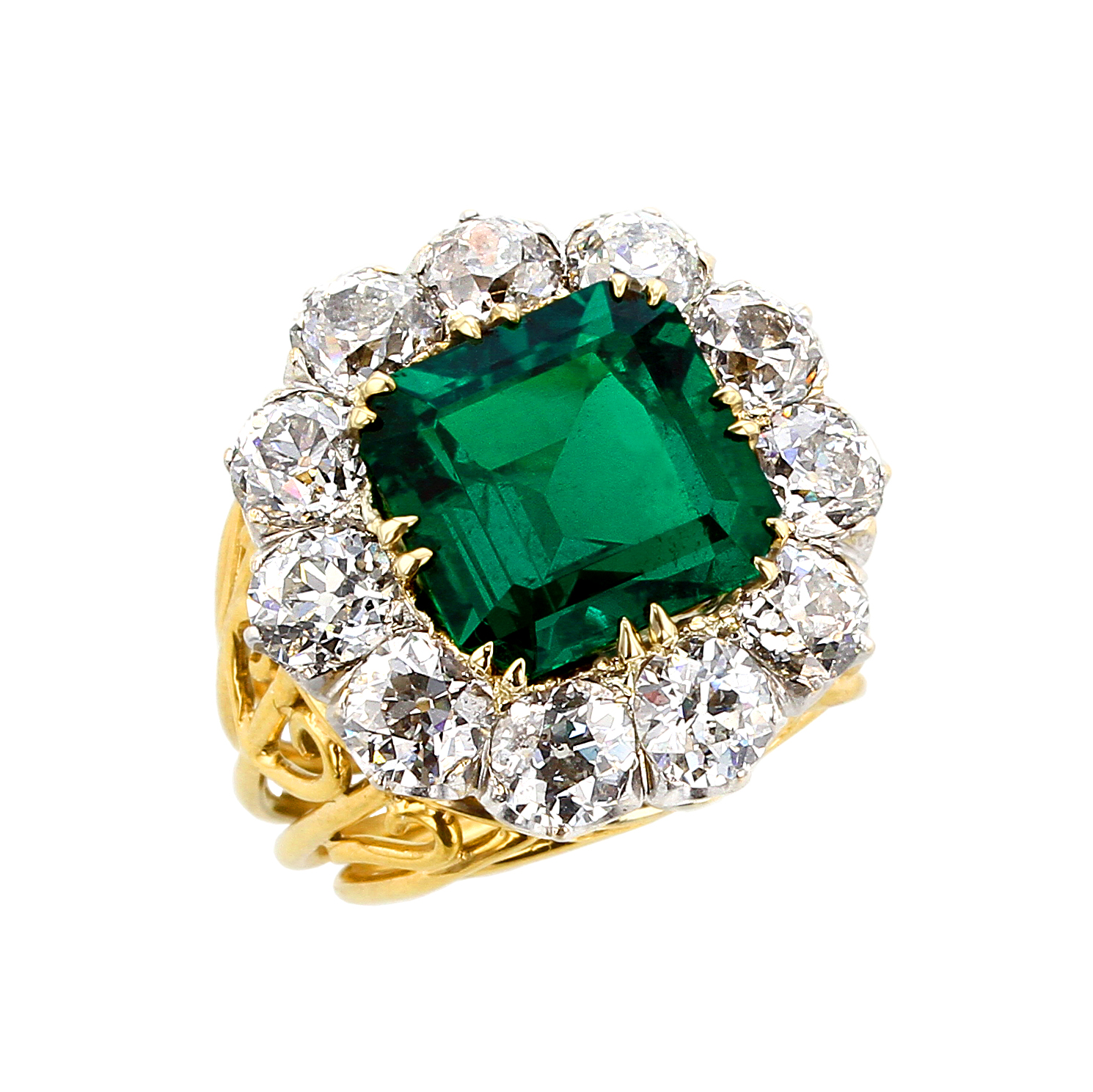 MAGNIFICENT 5 CT. NO OIL MUZO COLOMBIAN EMERALD AND OLD MIND DIAMOND GOLD RING