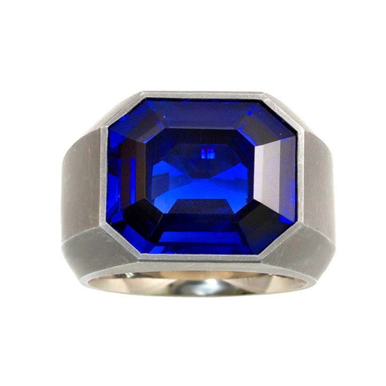 14+ CT. ROYAL BLUE BURMA SAPPHIRE AND IRON RING BY HEMMERLE