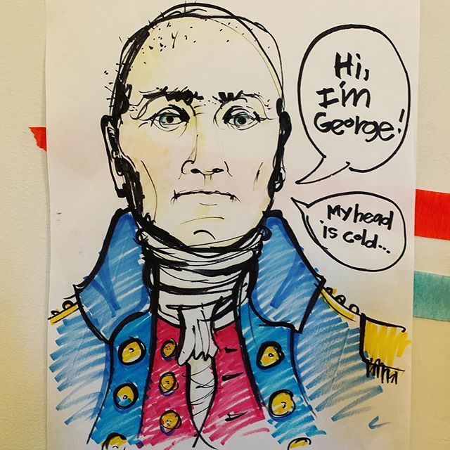 """Pin the Headdress on the George Washington"". A game my daughter came up with (which I had to actualize on short notice) for her impromptu Pre-Labor Day party for the neighborhood kids. American flags, streamers, table settings, cupcakes, and red/white/blue fruit shishkabobs rounded out the theme. #partygame #pinthetail #mollyisawesome"