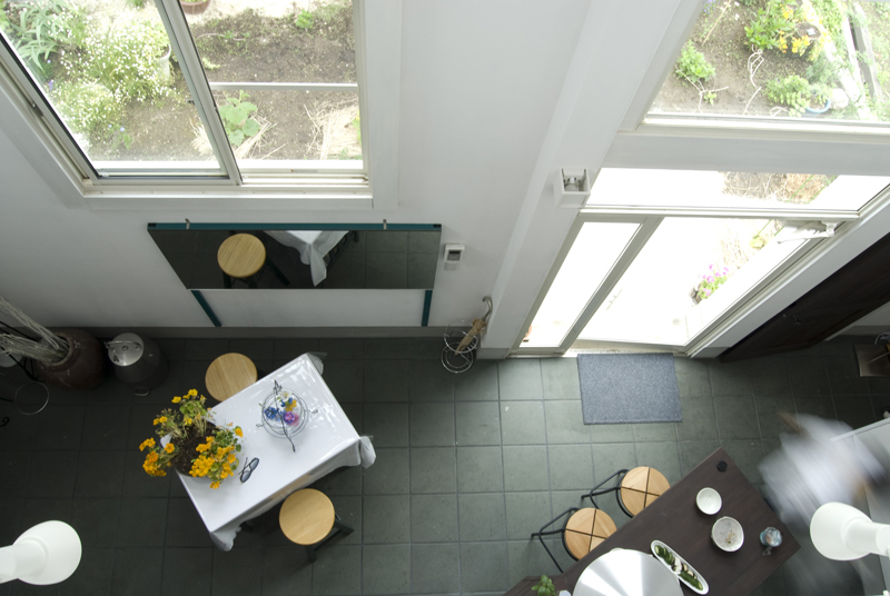 photo by Anthony James: kitchen looking from second floor