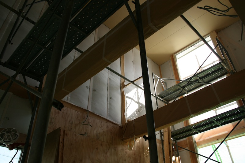 photo by Fujii-san: wood frame,cellulose fiber insulation installed.