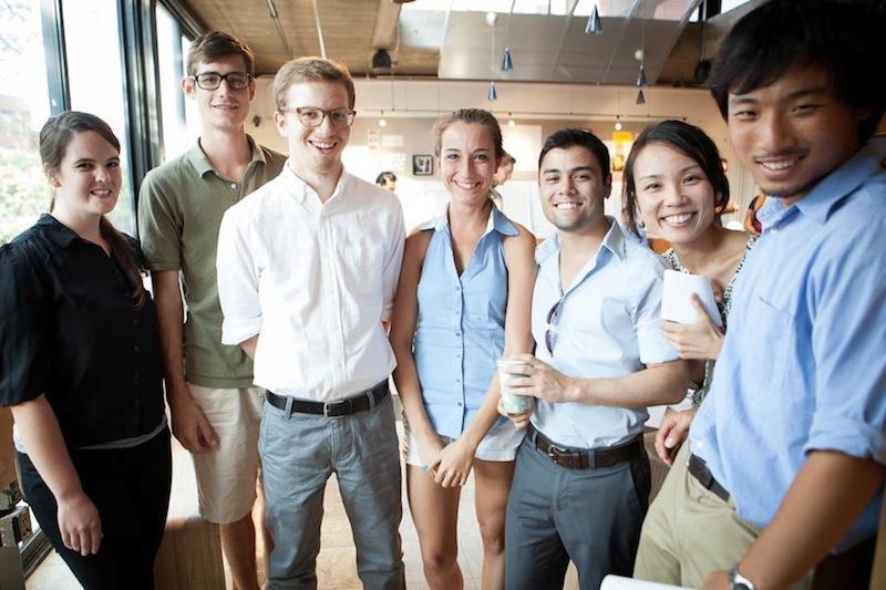 photo by Kye Liang: Opening day (from left: Megan, Matt, Nick, Jena, David, me and Shichong)