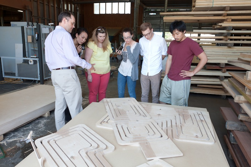 photo by Kye Liang: field trip to Walter Furman Co. in Fall River, we saw our plywood being cut into shapes.