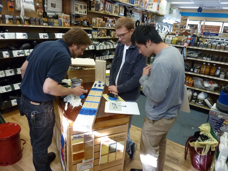photo by Junko Yamamoto: finish test at Rockler Woodworking and Hardware, with the help of store manager Peter