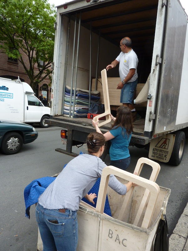 photo by Junko Yamamoto: Plywood delivered to Boston Architectural College.