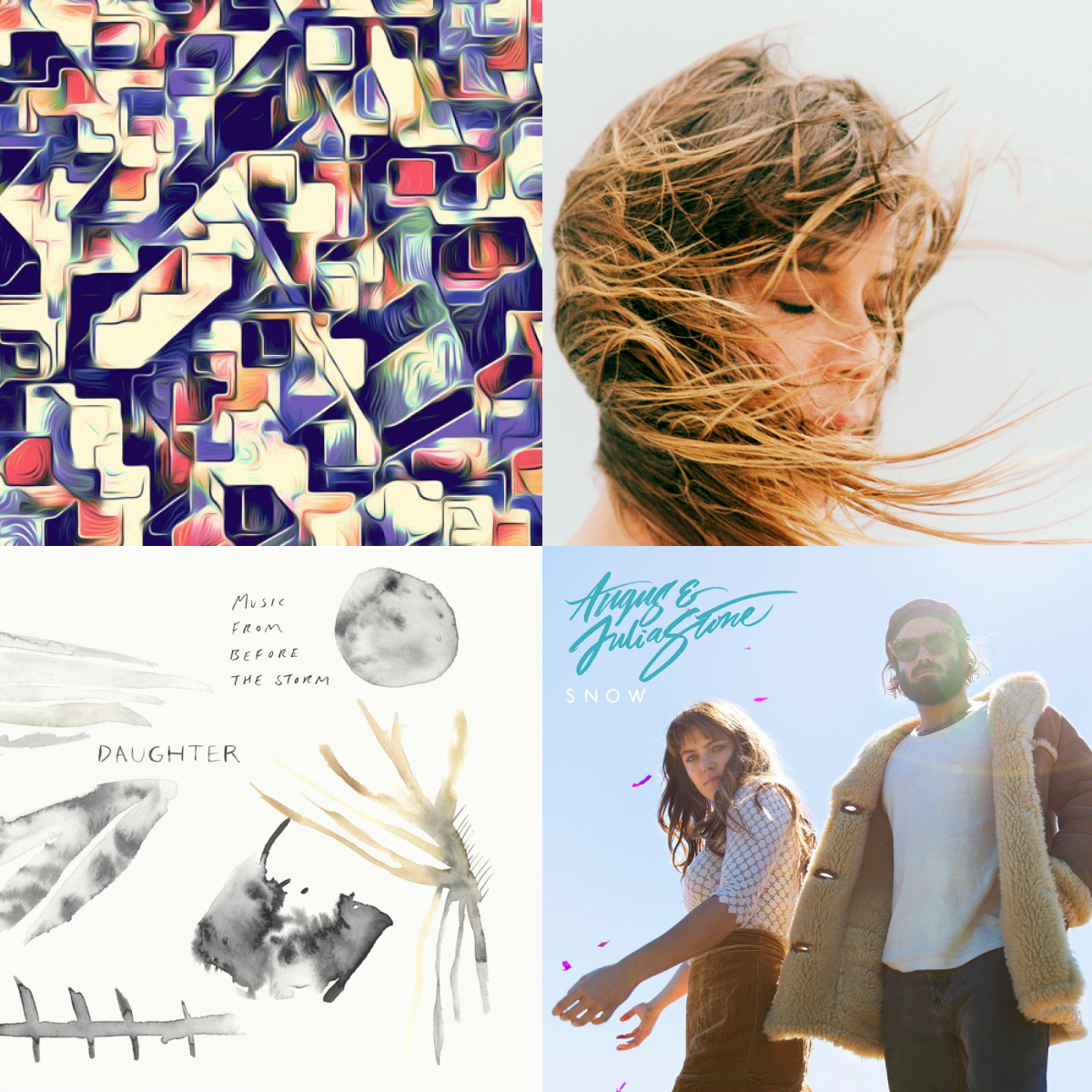 Artists's from top left to bottom right: Tora, Cat Power, Daughter, Angus & Julia Stone