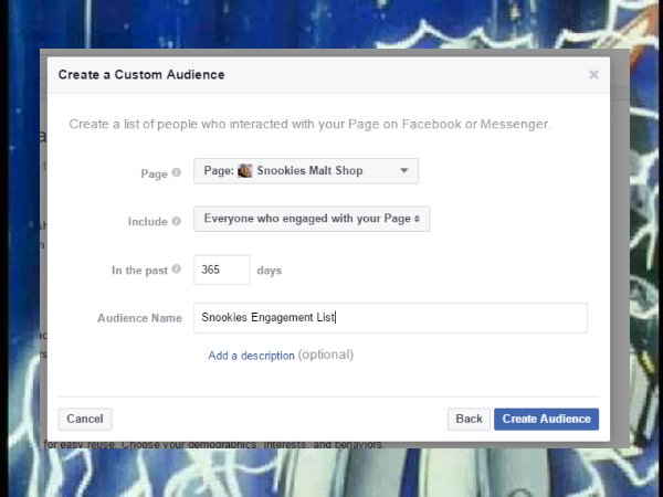 Then create your custom audience based on engagement. You can go back as far as 365 days, so unless you have an enormous Facebook page, I'd stick with this.