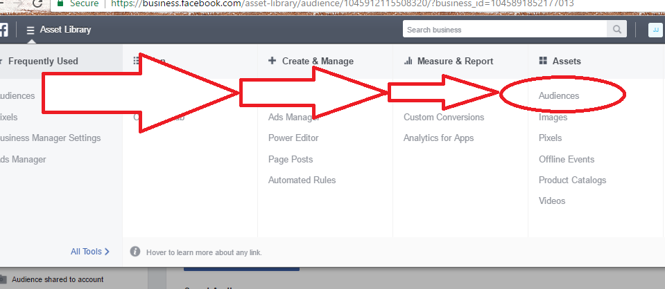 In the Business Manager menu, click on Audiences.