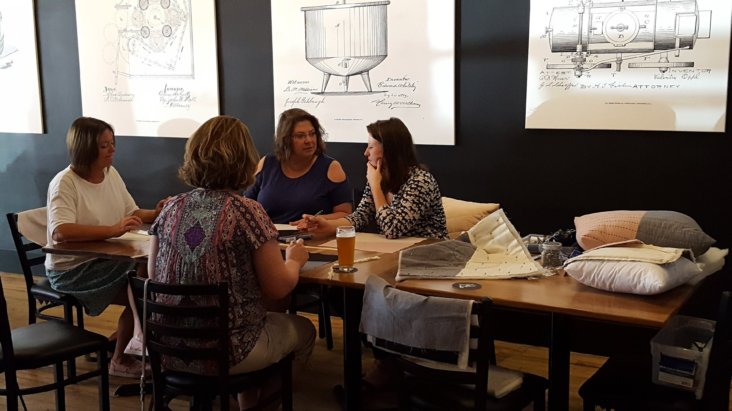 June 2018, Intro to Hand Quilting at Fat Hill Brewing Co.