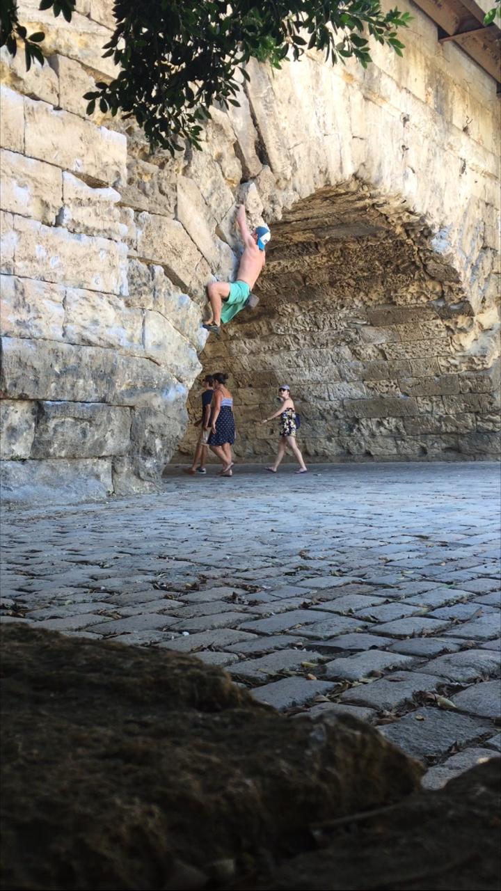 Matt staying in climbing shape in Seville, Spain.