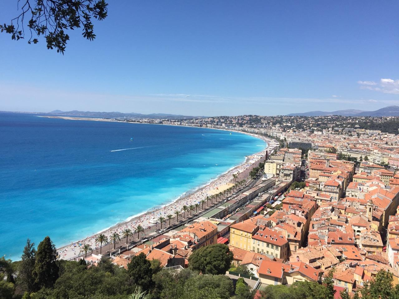 Coastal view of Nice, France.