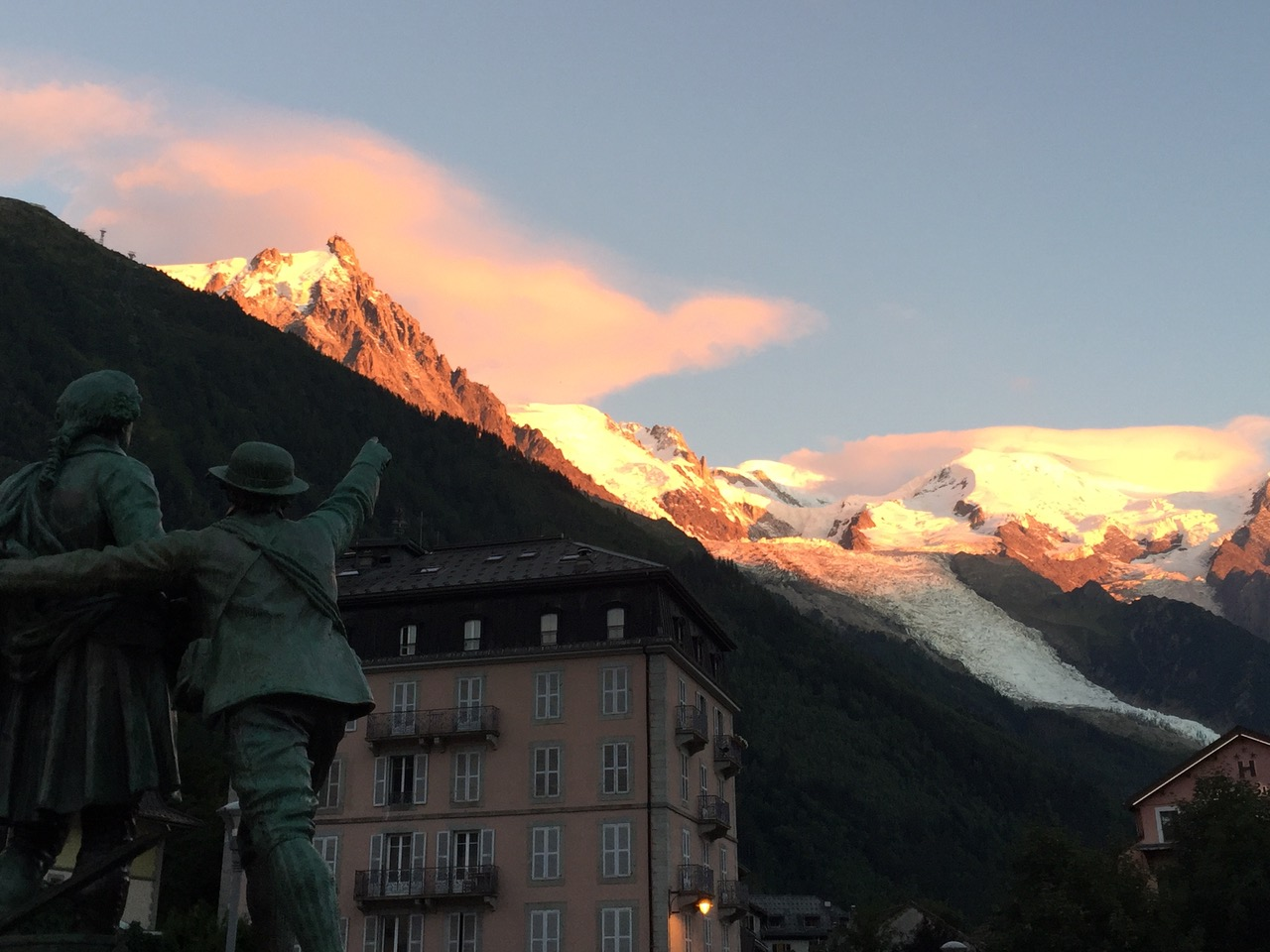 Statue pointing in the center of Chamonix, France.