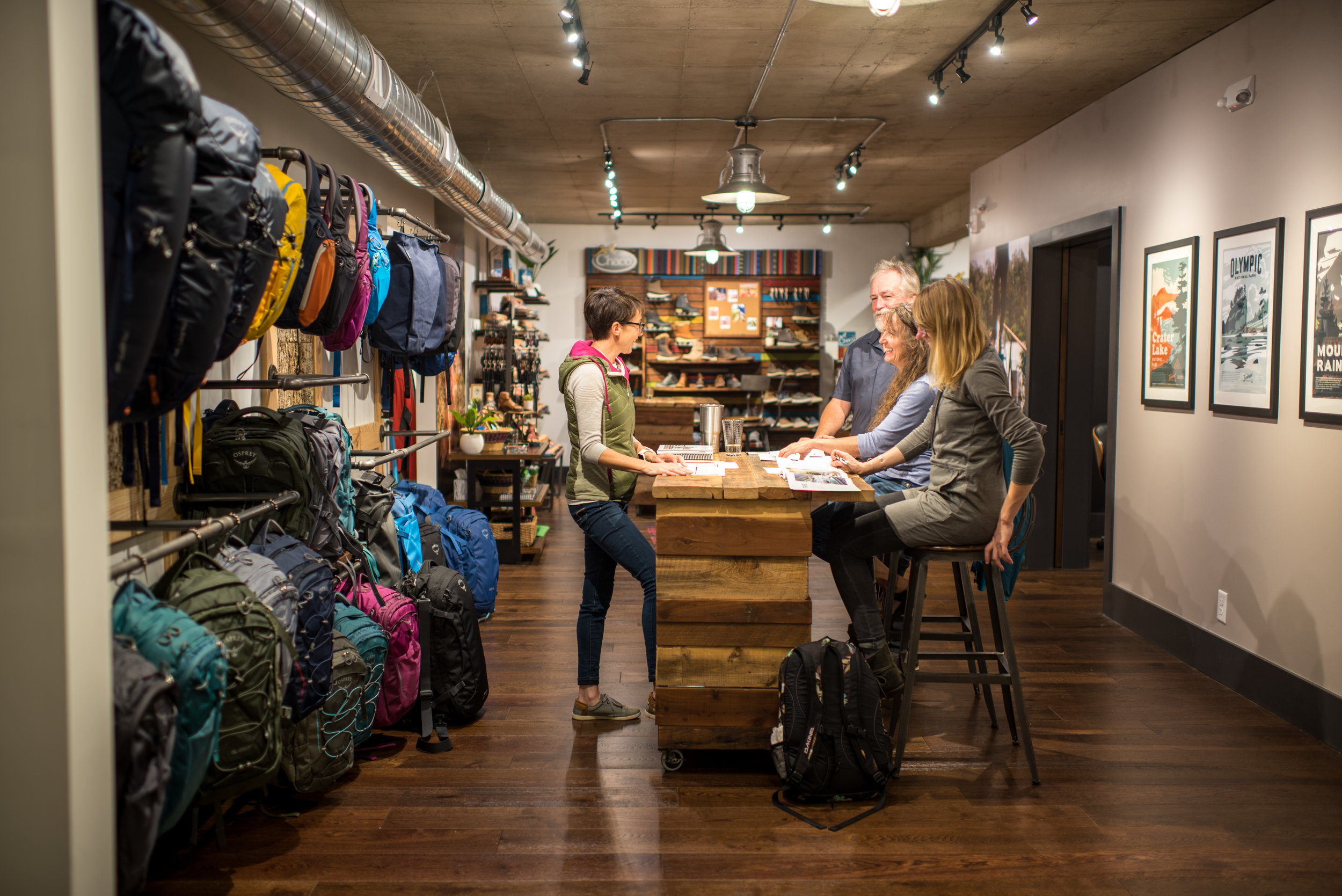 The merchandising of Osprey Packs and Chacos at the OSM showroom makes our buying process much easier as we get to focus on one brand at a time and see how the line will look in our store a year from now.