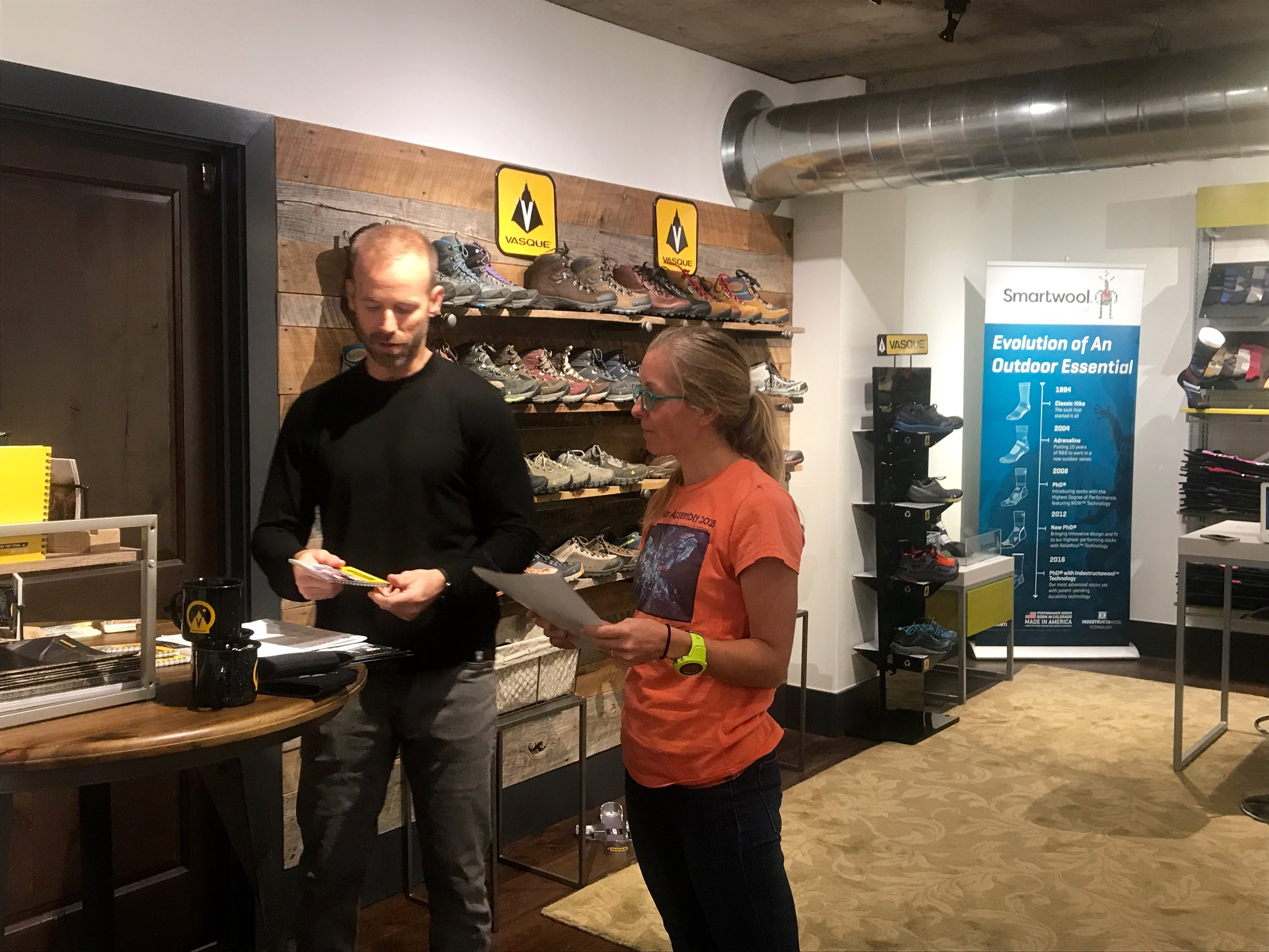 Erin and Tony our OSM rep discussing Vasque shoes for fall 2018.