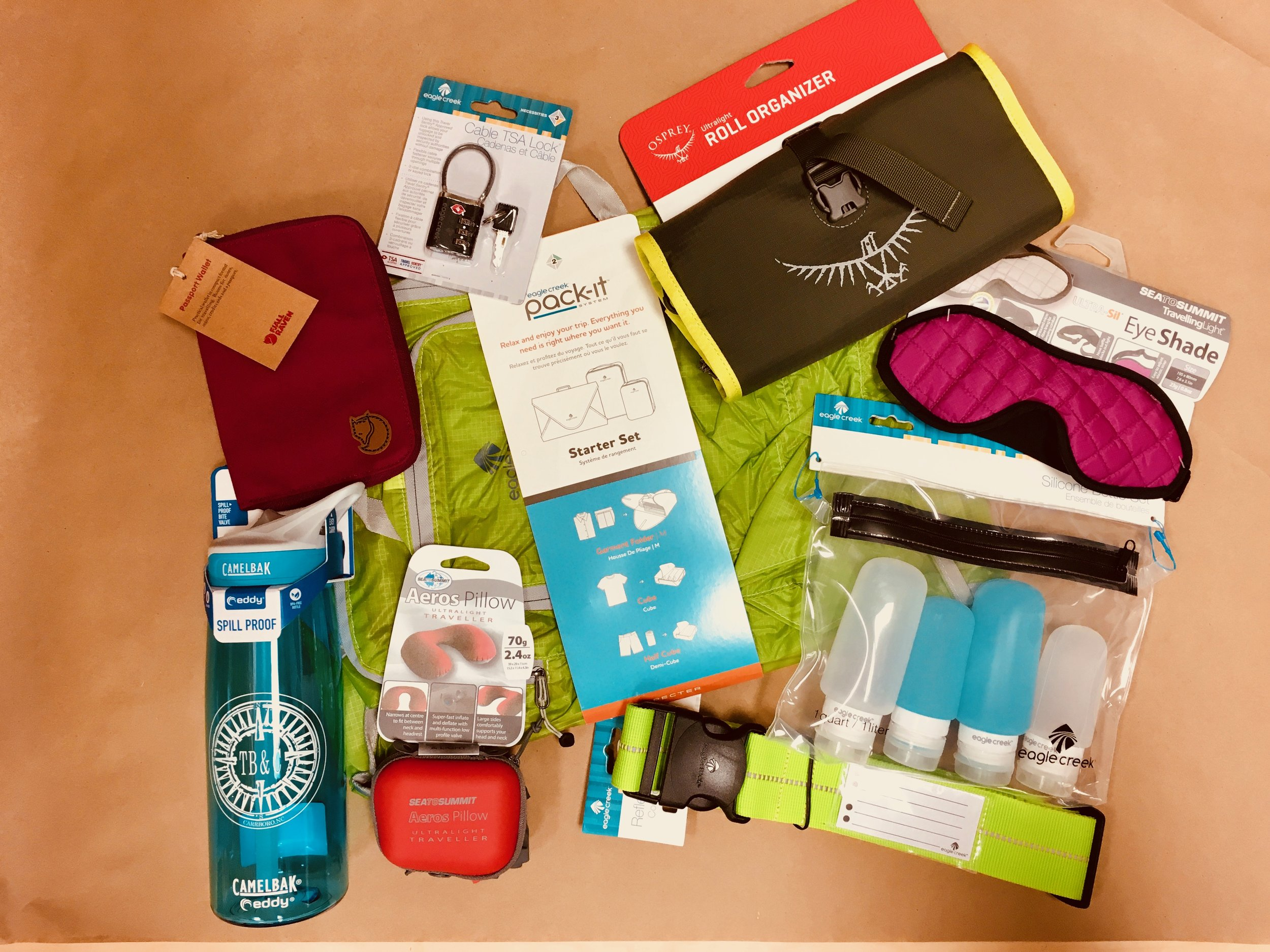 TRAVEL NECESSITIES -Great accessories for all the travelers in your life from Fjall Raven, Eagle Creek, Osprey, and Sea to Summit.