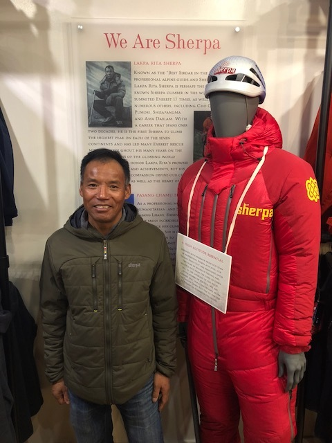 Lakpa Rita with his own technical gear he wore on expidition.