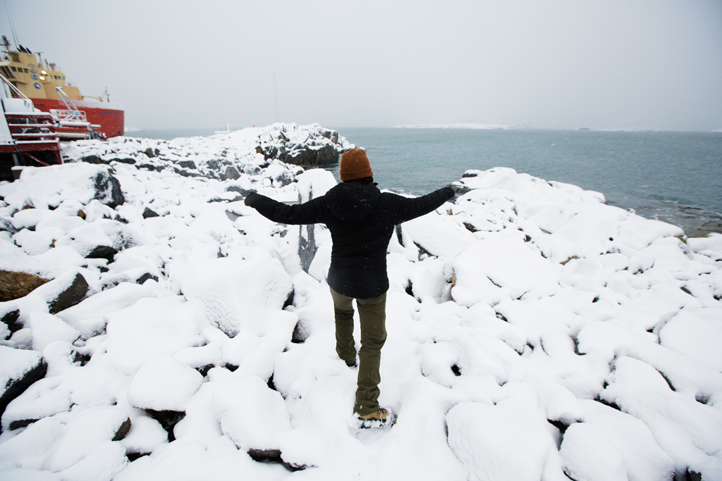 After 25 days at sea, it feels amazing to step onto land (and into fresh snow!) at Palmer Station.