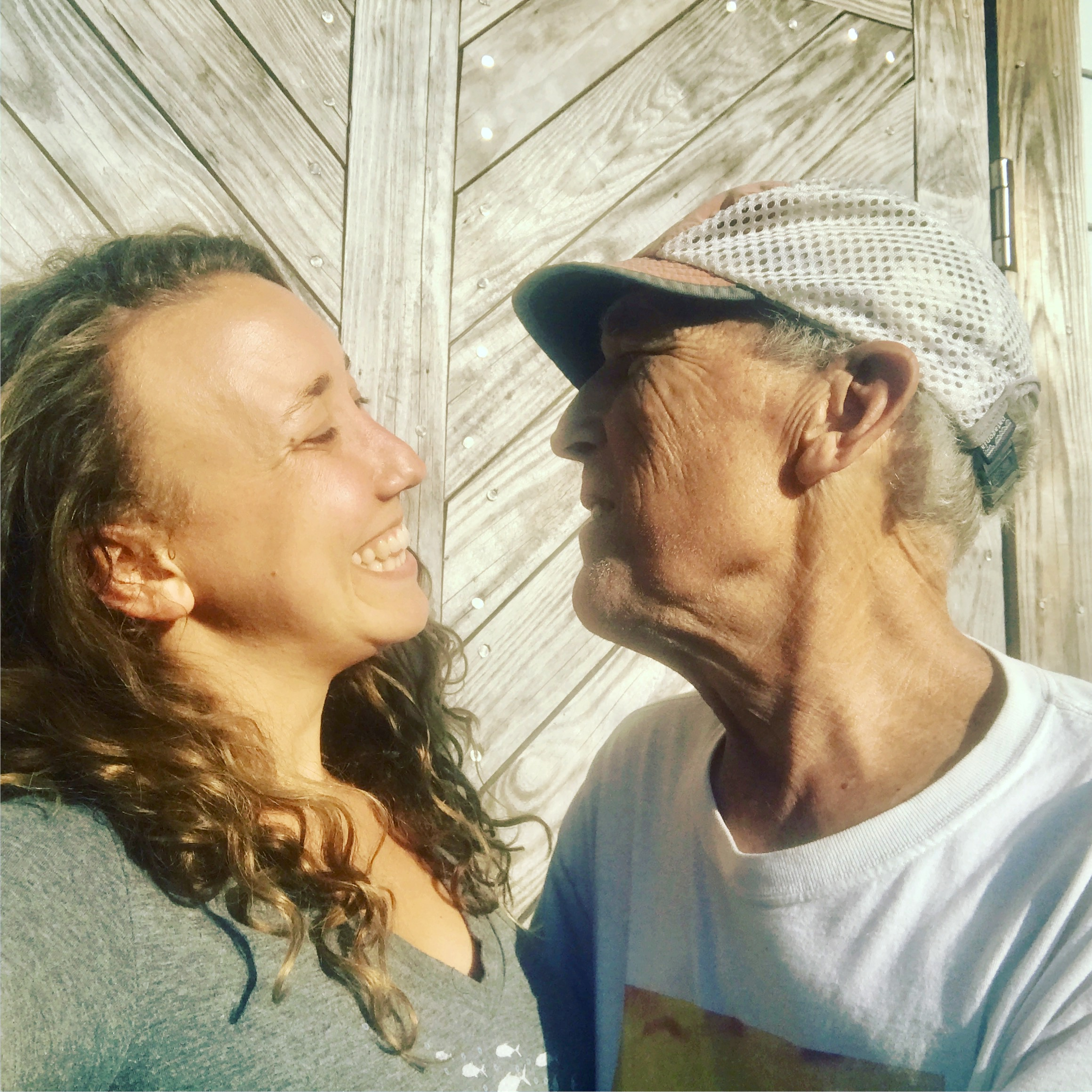 My dad and I soaking up spring sunlight and smiles.