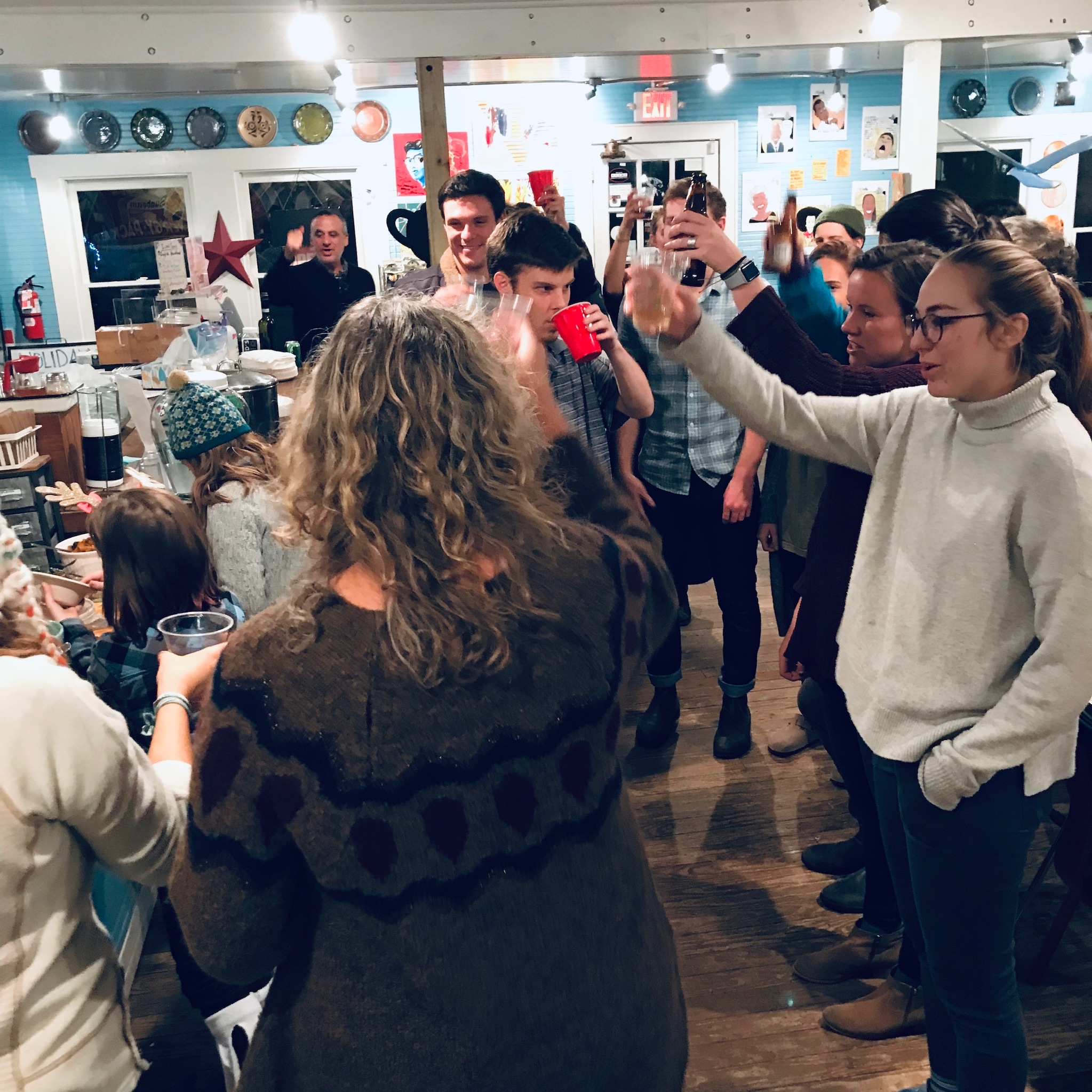 Cheers to living wage at our staff holiday party at Johnny's Coffee Shop in Carrboro.