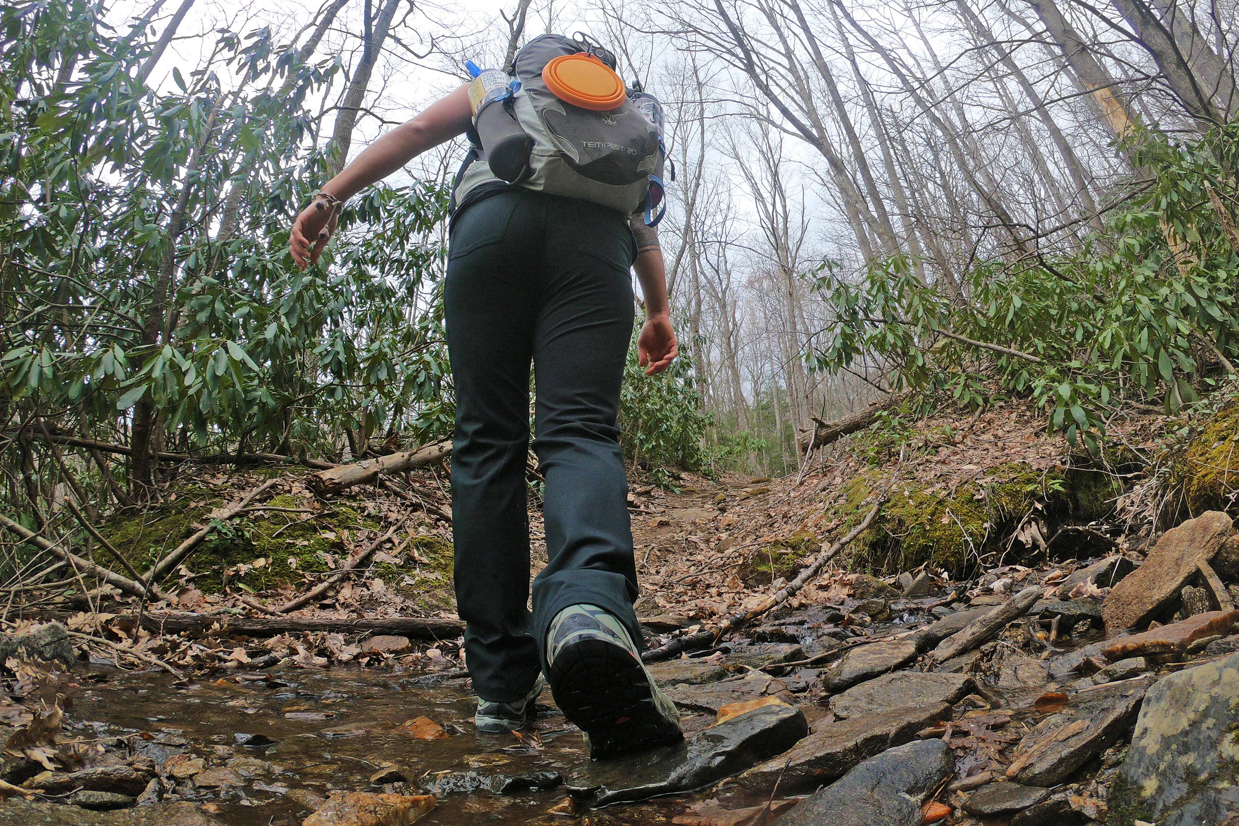 Crossing a creek during the first mile of Woody Ridge