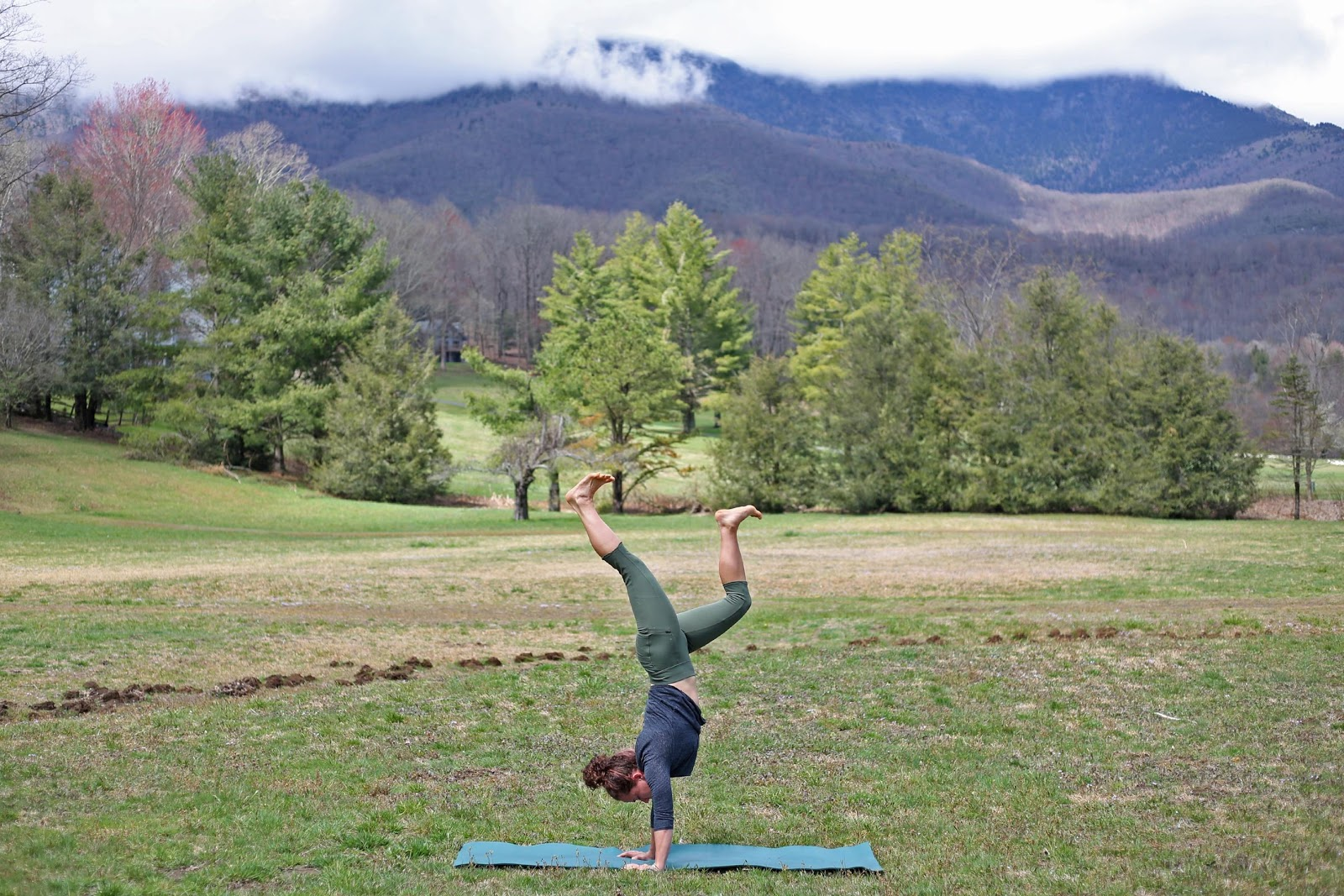 Yoga outside (and in the mountains) is the best. Love my Royal Robbins tights for yoga and hiking.